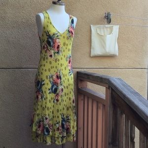 Italian Made Gauzy Cotton Painted Flower Frock S